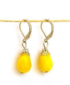 Doğal Taş Sarı Küpe